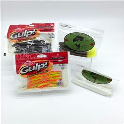 4 Assorted Rubber Bait Packages - Berkley Gulp! & Lip Locked Baits