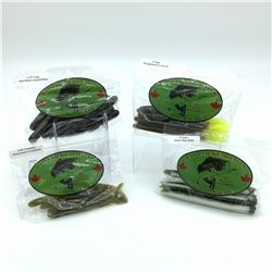 Lip Locked Baits: 4 Packages of Rubber Bait - Worm, Craw & Crosstrail