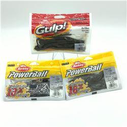 Berkley: 3 Packages of Rubber Bait - PowerBait & Gulp!