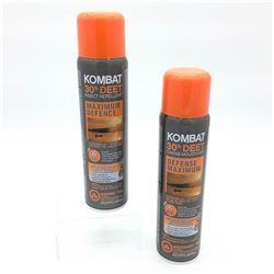 2x Kombat Insect Repellent, Maximum Defense, Aerosol Spray Can, 200 ml
