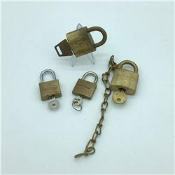 4 Padlocks with Keys