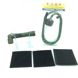 Canteen Straw, Periscope Flashlight & 3 Velcro Molle Pouches in Black