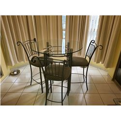 Glass Top Table & 3 hi chairs. C