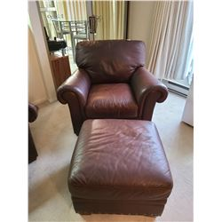 Leather Chair & Ottoman by ItalSofa C