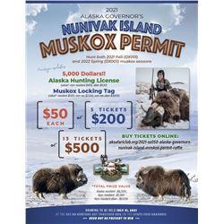 Alaska Governors (SX050) Nunivak Island Muskox Permit Raffle. Includes $5,000, Ak license and lockin