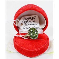 VINTAGE COSTUME JEWELLERY RING WITH GREEN STONE
