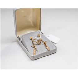 14 KT GOLD HAIR DRESSERS RING AND EARRING SET