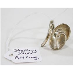 LARGE STERLING SILVER ART RING