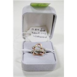 10 KT TWO TONE HEART RING WITH DIAMONDS