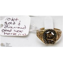 10 KT GOLD AND DIAMONDS GOOD LUCK HORSE RING