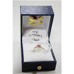 10 KT GOLD RING WITH RUBY SIZE 5