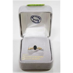 10 KT GOLD RING WITH SAPPHIRE AND DIAMONDS