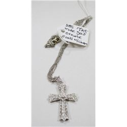 14 KT WHITE GOLD ORNATE CROSS WITH CHAIN 585