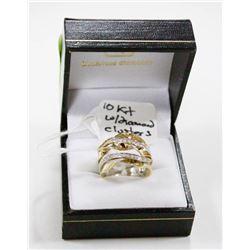 10 KT WHITE GOLD RING W DIAMOND CLUSTER