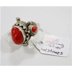 LARGE 925 SILVER RING WITH 3 STONES