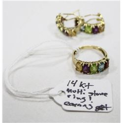 14 KT GOLD MUTLI STONE RING AND EARRING SET