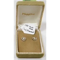14 KT TWO TONE HEART EARRINGS WITH DIAMOND CENTRE