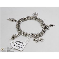 """STERLING SILVER LINK BRACELET 7"""" WITH CHARMS"""