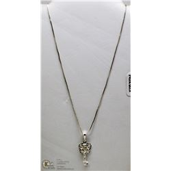925 STERLING SILVER HEART W LOCK AND KEY NECKLACE