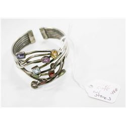 STERLING SILVER CUFF BRACELET WITH STONES 48G