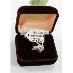 8 KT WHITE GOLD HEART RING WITH 3 DIAMONDS