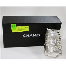 CHANEL STERLING SILVER CAMELIA CUFF BRACELET WITH