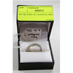 925 SILVER OCTAGONAL RING SIZE 7