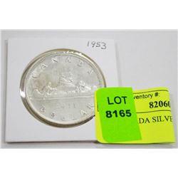 1953 CANADA SILVER DOLLAR COIN