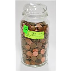 8 POUNDS OF VINTAGE PENNIES IN GLASS JAR