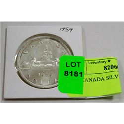 1959 CANADA SILVER DOLAR COIN