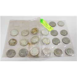 COLLECTION OF 20 VINTAGE US SILVER HALF DOLLARS