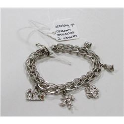 """STERLING SILVER CHARM BRACELET WITH CHARMS 7"""""""