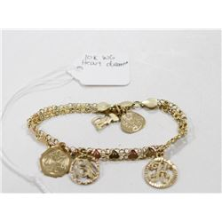 """14 KT GOLD MESH BRACELET WITH CHARMS 7"""""""