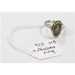 925 SILVER AND ABALONE SHELL RING SIZE 8