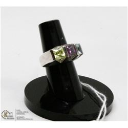 STERLING SILVER RING WITH SEMI PRECIOUS GEMS SIZE