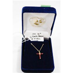 14 KT GOLD CURB CHAIN WITH GOLD AND RUBY CROSS