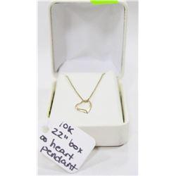 "10 KT GOLD 22"" BOX CHAIN W HEART PENDANT"