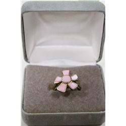 STERLING SILVER FLORAL RING WITH PINK INLAY