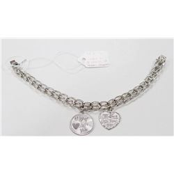 """STERLING SILVER CHARM BRACELET WITH MOM CHARMS 8"""""""