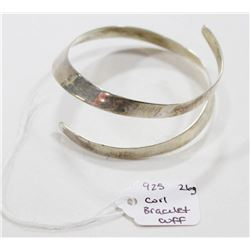 925 SILVER COILED BRACELET CUFF 26G