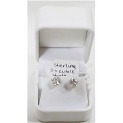 STERLING SILVER EARRINGS WITH LARGE CUBIC'S