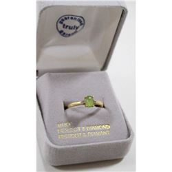 10 KT GOLD RING WITH PERIDOT AND DIAMOND