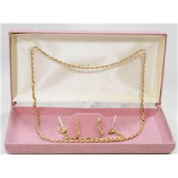 10 KT GOLD ROPE CHAIN EARRINGS AND BRACELET SET