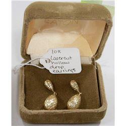 10 KT GOLD LASER CUT DROP EARRINGS