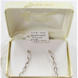 10 KT WHITE GOLD WITH DIAMOND DROP EARRINGS