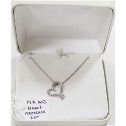 """14 KT WHITE GOLD HEART NECKLACE 20"""""""