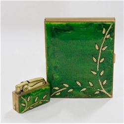VINTAGE GOLD TONE AND GREEN CIGARETTE CASE WITH
