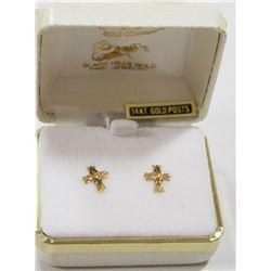 14 KT GOLD POST CROSS EARRINGS