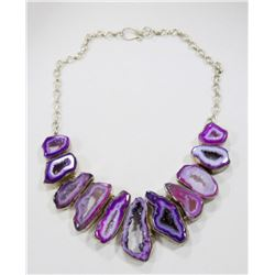 STERLING AND AMETHYST CUT GEODE NECKLACE