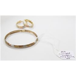 14 KT TRI GOLD BANGLE AND HOOP EARRING SET